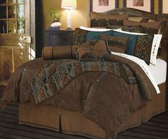 The Del Rio Bedding set is a faux tooled leather bedding set that is perfect for the western bedroom. The bed set is accented with creative geometric designs made of fine chenille that is blended with Indigo suede and tan tweed.