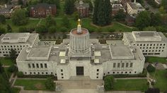 Salem, Oregon. Aerial view of the state capitol building. The art deco style is similar to Rockefeller Center in NYC, but it has been criticized for looking like a giant paint can.