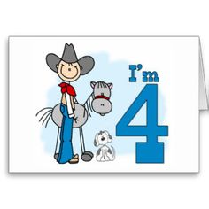 Stick Cowboy 4th Birthday Fill-in Invitations Stationery Note Card and birthday set, shirts, buttons, stickers, stamps.