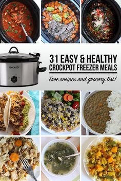 31 Easy and Healthy Crockpot Freezer Meals To simplify our busy weeknights, I came up with a list of our favorite easy and healthy crockpot freezer meals. Slow Cooker Freezer Meals, Healthy Slow Cooker, Quick Healthy Meals, Crockpot Dishes, Make Ahead Meals, Crock Pot Cooking, Healthy Crockpot Recipes, Slow Cooker Recipes, Real Food Recipes