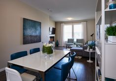 Bramley Townhome Showhome - Gateway at Williamstown in Airdrie Alberta Townhouse, Conference Room, Table, Furniture, Design, Home Decor, Decoration Home, Terraced House, Room Decor