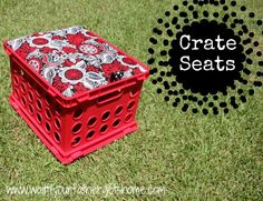 crate seats- From website: To make a {fabric covered crate seat} you'll need: milk crates (we used 4 for this project) 3 yards fabric (22 x 24 inches) twin mattress pad (you can find these super cheap at Target or WalMart) coordinating ribbon (four 10 inch pieces) particle board or MDF (you need 4 pieces to fit your crate; ours were 12.75 x 15 11/16 inch rectangles) staple gun