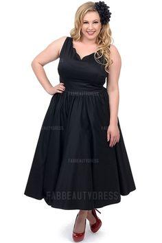 A-Line/Princess V-neck Tea-length Satin Plus Size Prom Dress