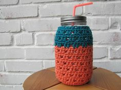 Pumpkin and Dark Teal Crochet Mason Jar Cozy 32oz - THESE ARE AWESOME! - ora dale handmade