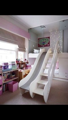 I would the bed on top and wake up and wake up fully by sliding down the slide