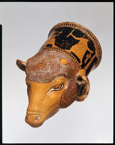 Terracotta rhyton (vase for libations or drinking) Attributed to the Painter of London E 100 Period: Classical Date: ca. 460 B.C. Culture: Greek, Attic Medium: Terracotta; red-figure