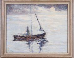 "SAXTON BURR (1889-1973, American)  ""Sailing under moonlight"", oil on masonite, signed lower left, 16"" x 20""  Estimate: $300 - $500"