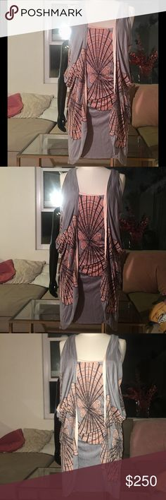 Mara Hoffman Mini Dress w/Shawl Vest Mara Hoffman cute sleeveless form fitting flowy, curve accentuating dress with attached (at shoulders) butterfly style, shawl like vest cover.   Size Medium  Stretchy.  Colors: pinkish peach, grey/gray/silver, black Retail $395 Brisette # Mara Hoffman Dresses Mini