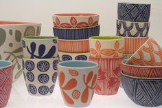 Dimity Kidston for Kevala Ceramics Sanur Ceramic Decor, Ceramic Cups, Ceramic Pottery, Pottery Art, Ceramic Art, Pottery Painting, Ceramic Painting, Kitchen Prints, Sgraffito