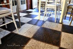 The ultimate girl's day out with Tamara - Part an ultimate lunch - Funky Junk Interiors Painted floors. Stain, tape your lines, paint, lift tape, done. Like the rustic appeal - not perfect which is perfect fo.