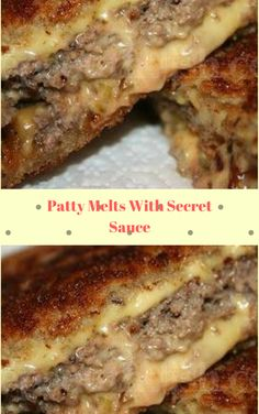 Patty Melts With Secret Sauce.don't make their secret sauce.use thousand island dressing instead! Meat Recipes, Dinner Recipes, Cooking Recipes, Sandwich Recipes, Sandwich Ideas, Griddle Recipes, Meatloaf Recipes, Easy Cooking, Sauce Recipes