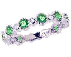 14K White Gold Gemstone and Diamond Dainty Three-Quarter Stackable Ring-Emerald, size7.5   Your #1 Source for Jewelry and Accessories