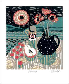 Spotted Jug - Linocut by Jane Walker
