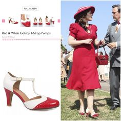 Agent Carter Season 2 Shoes.  Chelsea Crew Red &White Gatsby T-strap. Not confirmed by anyone official, but come on...that's pretty close.  MT. #agentcarter #peggycarter #cosplay
