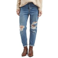 TopshopMoto'Hayden' Ripped Boyfriend Jeans ($80) ❤ liked on Polyvore featuring jeans, blue, boyfriend fit jeans, high-waisted jeans, blue jeans, high waisted destroyed jeans and distressed jeans