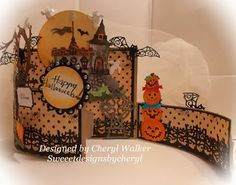 Happy Halloween Bendy Card & Video - Sweeet Designs By Cheryl: Happy Halloween Bendy Card & Video - Halloween Paper Crafts, Manualidades Halloween, Halloween Cards, Happy Halloween, Spooky Halloween, Halloween Ideas, Halloween Decorations, Tri Fold Cards, Fancy Fold Cards