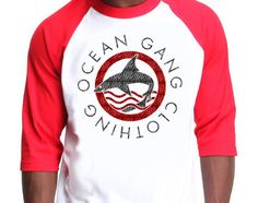 542 RED OGC SHARK LOGO BASEBALL TEE