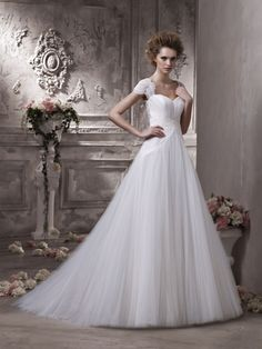 Empire Off-the-shoulder Short Sleeves Backless Tulle Lace Court Wedding Dress