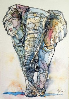 ARTFINDER: Colorful Elephant by Kovács Anna Brigitta - Original watercolour painting on high quality watercolour paper. I love landscapes, still life, nature and wildlife, lights and shadows, colorful sight. Watercolor And Ink, Watercolor Paintings, Watercolors, Elephant Watercolor, Ink Painting, Elephant Artwork, Elephant Paintings, Elephant Elephant, Elephant Illustration