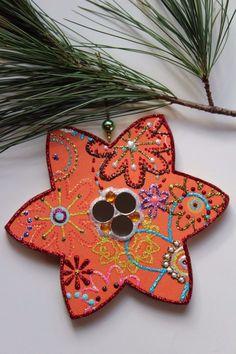 Orange Mirror Flower Original Sybille Lichtenstein Christmas Wood Slice Ornament