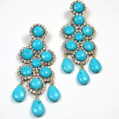 Statement Earrings Turquoise and crystal embellished statement Chandelier Earrings Statement jewelry by Ezzaexclusive