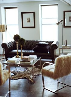 Chesterfield sofa modern interior design  Americasmart picks and my new coffee table | Emily Henderson ...