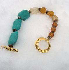 turquoise, amber and antique glass beads