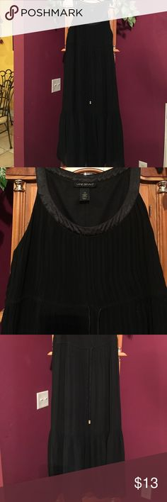 Lane Bryant black dress Preowned- drawstring waist-pleated dress at top and somewhat at the bottom of dress- ruffle hem- dress is lined- 100% polyester Lane Bryant Dresses Maxi