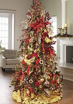 "RAZ Imports - Garnet - Red 4"" Antiqued Scroll Gold and Gem Embellished Christmas Tree Ornament - Set of 3"