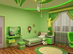 Lime Green Bedrooms, Green Bedroom Colors, Bedroom Wall Colors, Room Design Bedroom, Home Room Design, Home Decor Bedroom, House Design, Green Kids Rooms, Green Interior Design