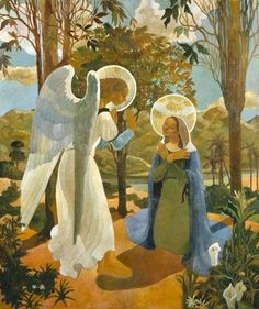 Readings from the gospel for the catholic mass according to the liturgy calendar: Immaculate Conception of the Virgin Mary, 2015 with picture Anunciação (Jorge Barradas, Annunciation, Painting, Blessed Virgin Mary, Art, Pictures Of Jesus Christ, Catholic Art, Christian Art, Angel Art, Sacred Art
