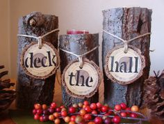 Rustic Wood Candle Holder Set of 3/Christmas Decoration/Holiday Decoration/Wedding Decoration. $32.95, via Etsy.