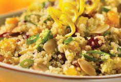 Killer Quinoa Salad (quinoa, dried cranberries, dried apricots, avocados, sliced almonds) soo good!