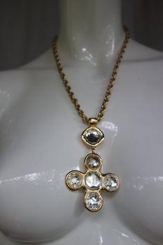 d96c3d6c8eb683 Vintage GOOSSENS for Yves Saint Laurent Crystal Pendant Cross Necklace