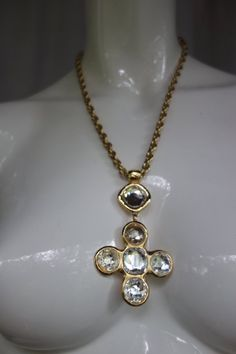 1dd40059e61 Vintage GOOSSENS for Yves Saint Laurent Crystal Pendant Cross Necklace