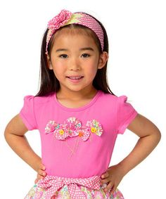 Another great find on #zulily! Pink Flower Cap-Sleeve Tee - Toddler & Girls by Candy Bean #zulilyfinds