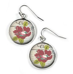 FLOWER - Glass Picture Earrings - Silver Plated (Art Print Photo F17) by RosettaLondon on Etsy