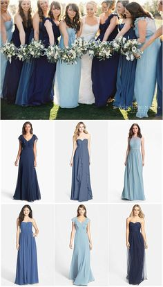 Mismatched blue and navy bridesmaid dresses.