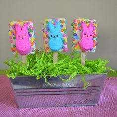 Easter Peeps on Decorated Rice Krispie Treats