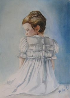 Little Girl in a White Dress by Della Burgus, painting by artist Art Helping Animals