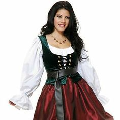 Adult Woman Renaissance Pirate Medieval Green Bodice Lace Up Costume Vest Corset | eBay