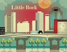 Retro Southern Skyline Prints on BourbonandBoots.com #littlerock