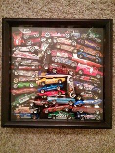 My son's toy cars collection in a shadow box. He loved looking through his old cars and remembering his favorites! - ADKeser - - My son's toy cars collection in a shadow box. He loved looking through his old cars and remembering his favorites! Shadow Box, Ideas Para Organizar, Album Design, Box Frames, Kids Bedroom, Car Bedroom Ideas For Boys, Trendy Bedroom, Playroom, Diy And Crafts