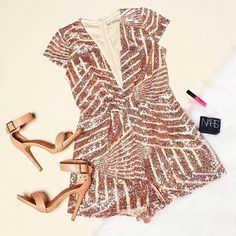 ✨SALE✨ Reverse Sequin Romper Totally awesome romper from Reverse features plunging v neck, rose gold sequin design, and stretchy fit. Perfect for your next party!  *new with tags, retail *stretchy, fully lined, zip in back *poly blend  *size large, juniors  *will best fit size 6/8  Be sure to check out my closet for more great NWT stuff!  Bundle two or more to save 20%  Reverse Pants Jumpsuits & Rompers