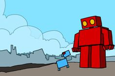 Red Robot Leaving The City by ExplodingDog