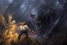 """Lúthien and Huan the Wolfhound arrived, hoping to rescue Beren. Sauron sent werewolves against them, including their sire Draugluin, but Huan slew them all. Aware of a prophecy to the effect that Huan would be killed by the greatest wolf ever, But the prophecy actually applied to the still-unborn Carcharoth, and Sauron could not prevail against Huan"" (Click the pin for the entire quote)"
