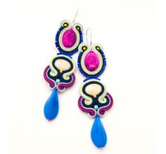 Mexican orecchini, soutache earrings, bright colors jewelry, very long earrings, Frida Khalo, bead embroidery, spring wedding, colorful