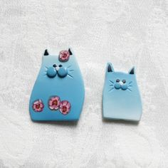 magnets en fimo  Mummy cat and her baby in polymer clay