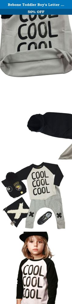 Bebone Toddler Boy's Letter Long Sleeve T-shirt (1T). Long-sleeved shirt in soft, washed cotton twill with Crew collar, Fashion Letter Design in the fornt.Back is no pattern.