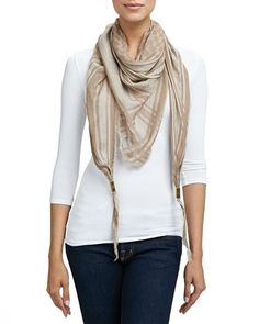 Gucci Trigon Acantha Scarf, Light Brown from Neiman Marcus on shop.CatalogSpree.com, your personal digital mall.
